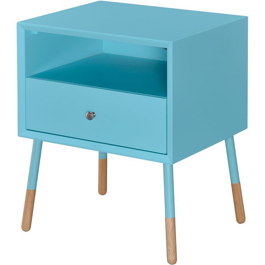 Cadet Blue Sonria II End Table With 1 Drw & Open Storage in Light Blue & Natural BH84452