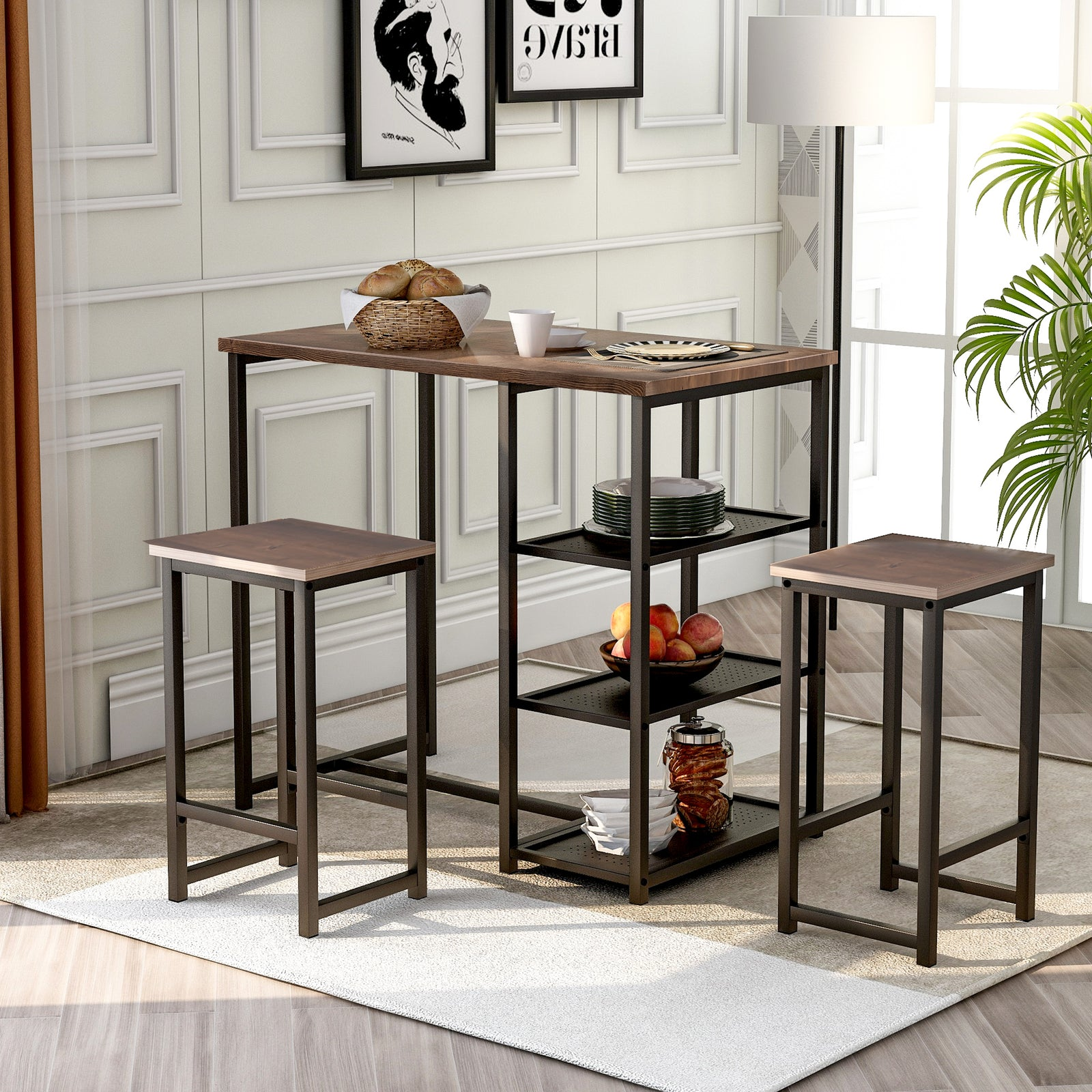 3 Counts - Modern Pub Set with Rectangular Table and Bar Stools - Black