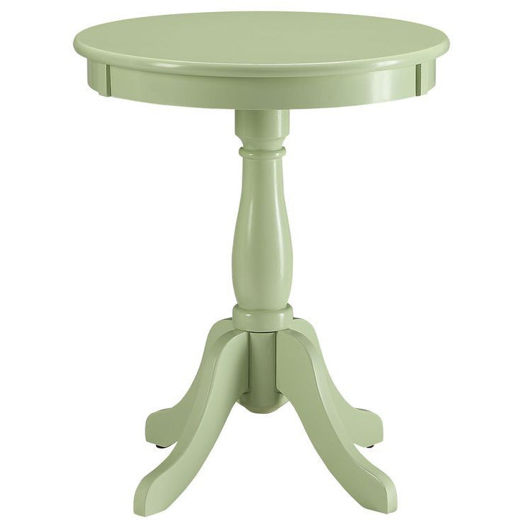 "18"" D Round Side Table Turned Pedestal Base w/4 Legs Light Green"
