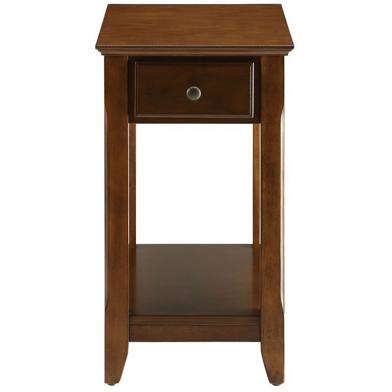 Wooden Tapered Leg Side Table With Bottom Shelf in Walnut