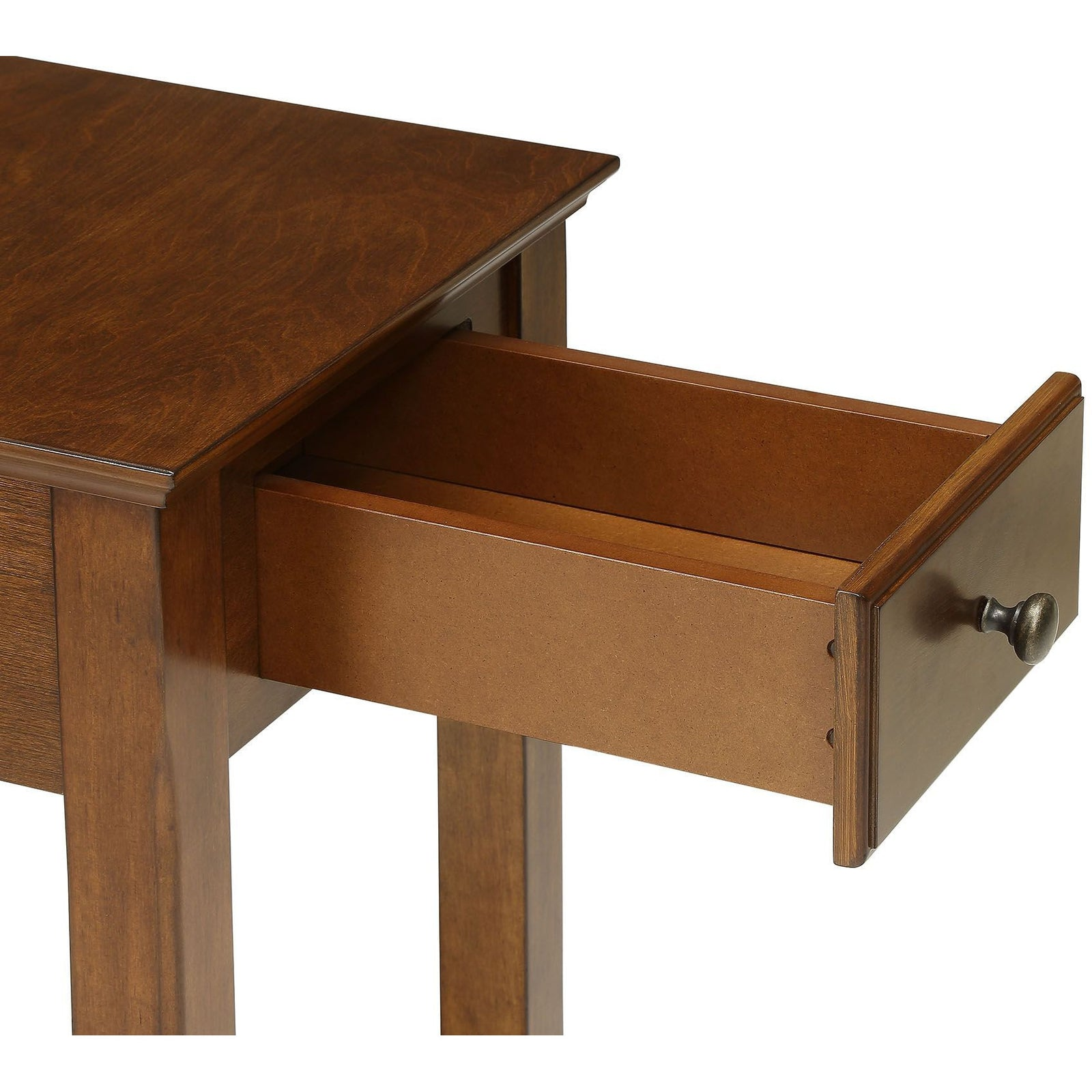 Wooden Tapered Leg Side Table With Bottom Shelf in Walnut - Drawer