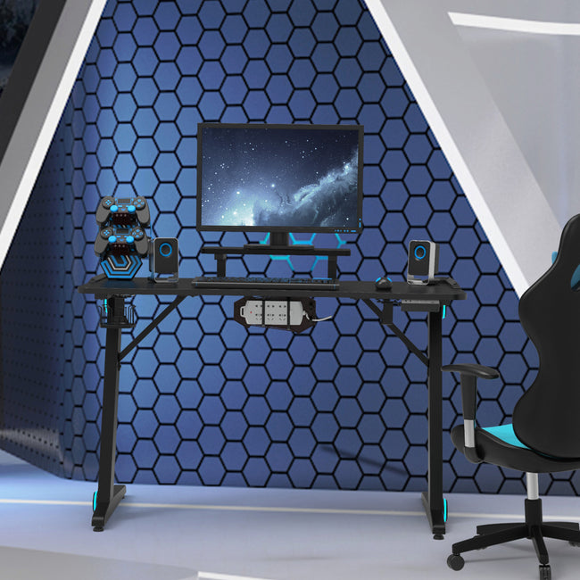 Gaming Desk Z-Shaped Computer Desk Gamer Workstation with Monitor Stand & Carbon Fiber Surface BH44121277