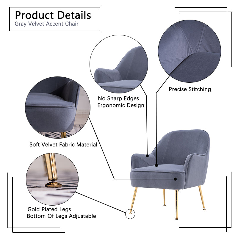 Dim Gray Velvet Accent Chair With Gold Metal Legs BH5272484