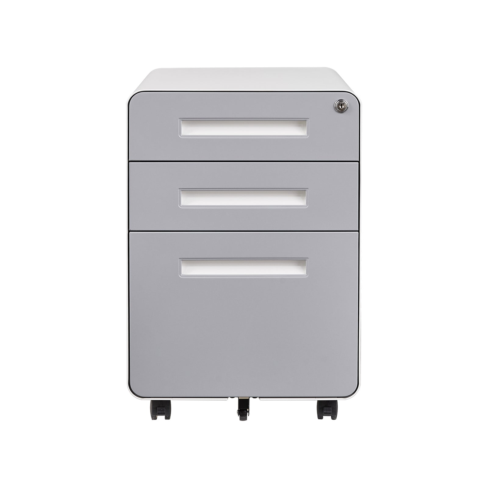 3 Drawer Mobile Pedestal File Cabinet Home Office Furniture - White