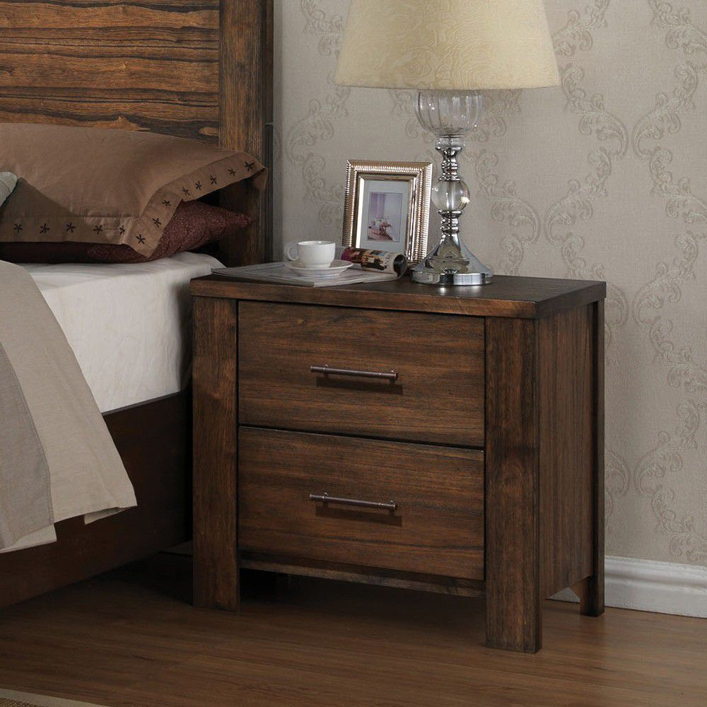 Dark Slate Gray Wooden End Table Side Table Bedroom Nightstand With Two Drawers in Oak BH21683
