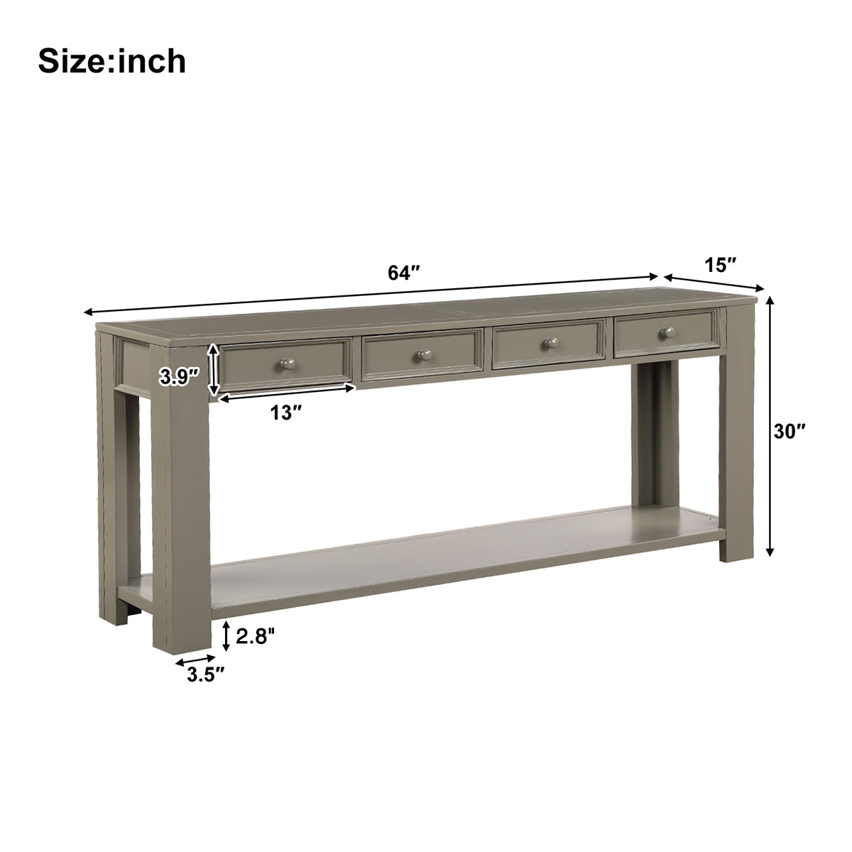 Dim Gray Rectangular Console Table for Entryway Hallway Sofa Table with Storage Drawers and Bottom Shelf BH189615