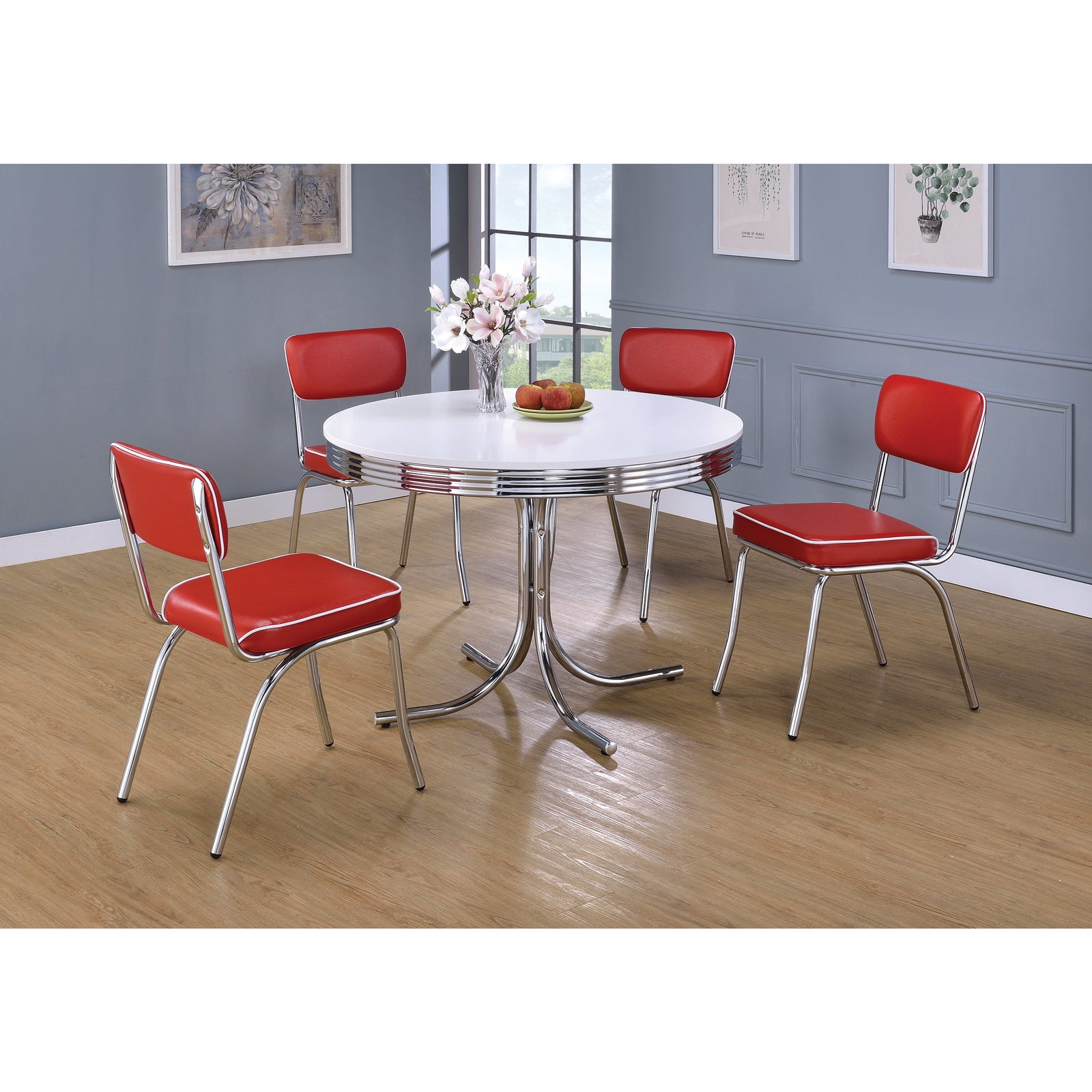 Coaster 2388-2066 | 5pc Retro Round Glossy White Dining Table And Open Back Cushion Dining Side Chairs