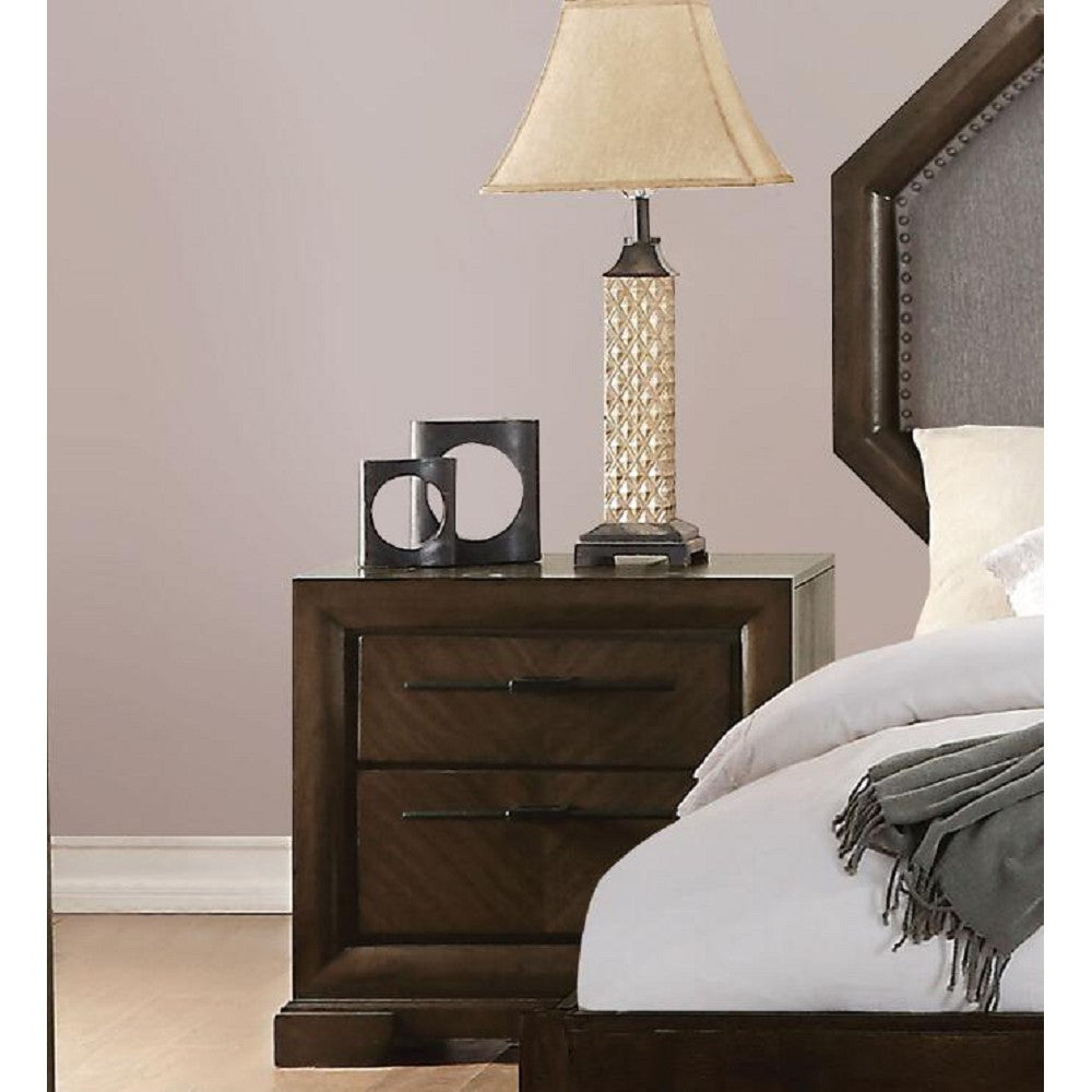 Dark Slate Gray Selma Nightstand With 2 Drawers in Tobacco BH24093
