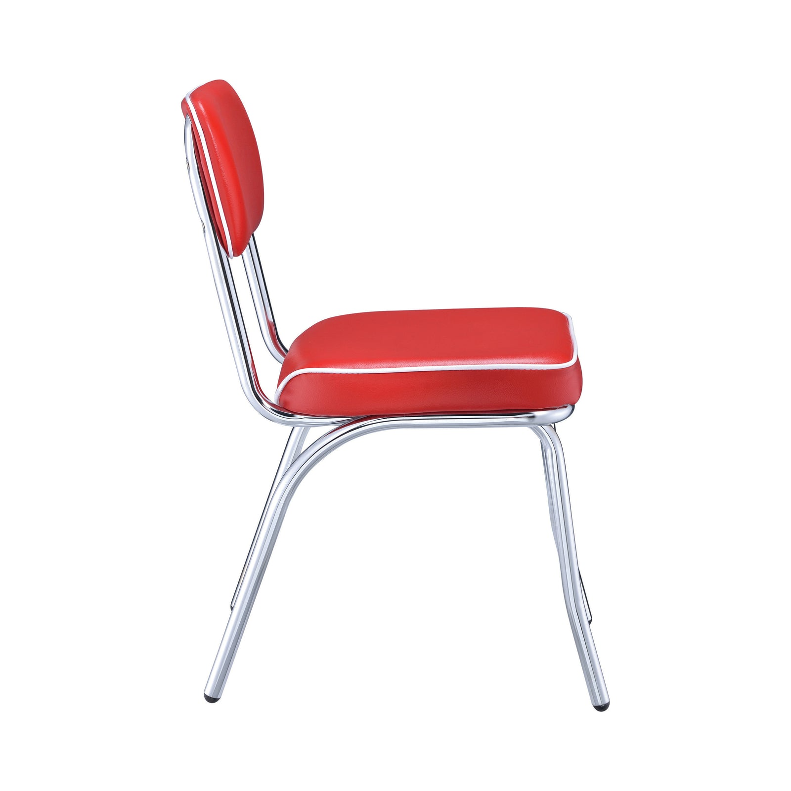 Modern Open Back Red Cushion Dining Side Chairs Chrome Plated