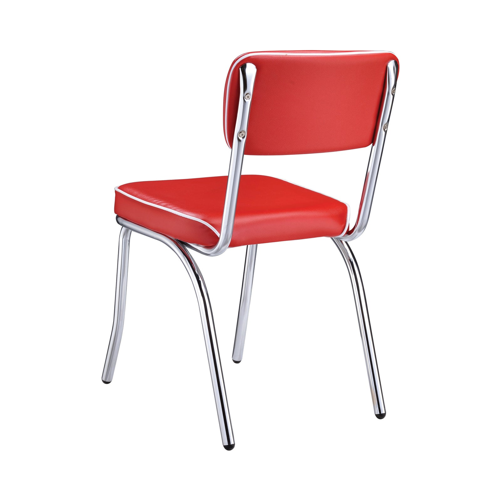 Coaster 2450R | Modern Open Back Red Cushion Dining Side Chairs Chrome Plated Set Of 2