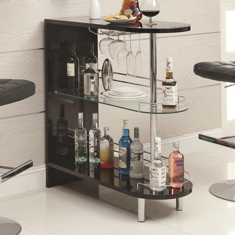 Dark Slate Gray Coaster 101064 | Bar Units Glossy Bar Table with 2-Shelves