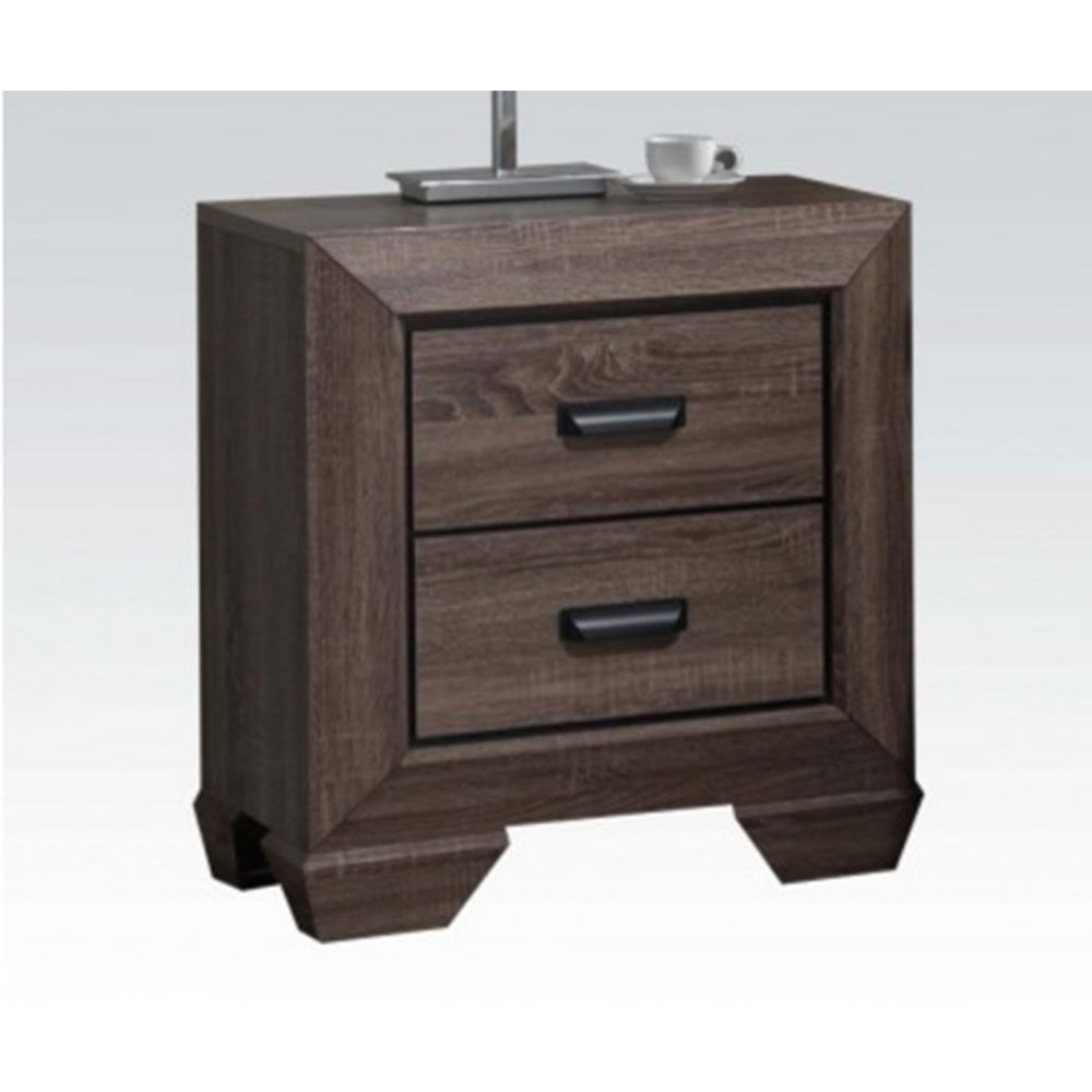 Dark Olive Green Lyndon Nightstand With Two Drawers in Weathered Gray Grain BH26023
