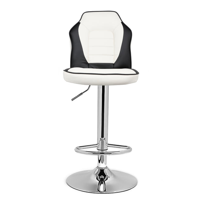 2pc Racing Seat Style Backed Bar Stools with Backs Counter Stools Kitchen Stools White/Black