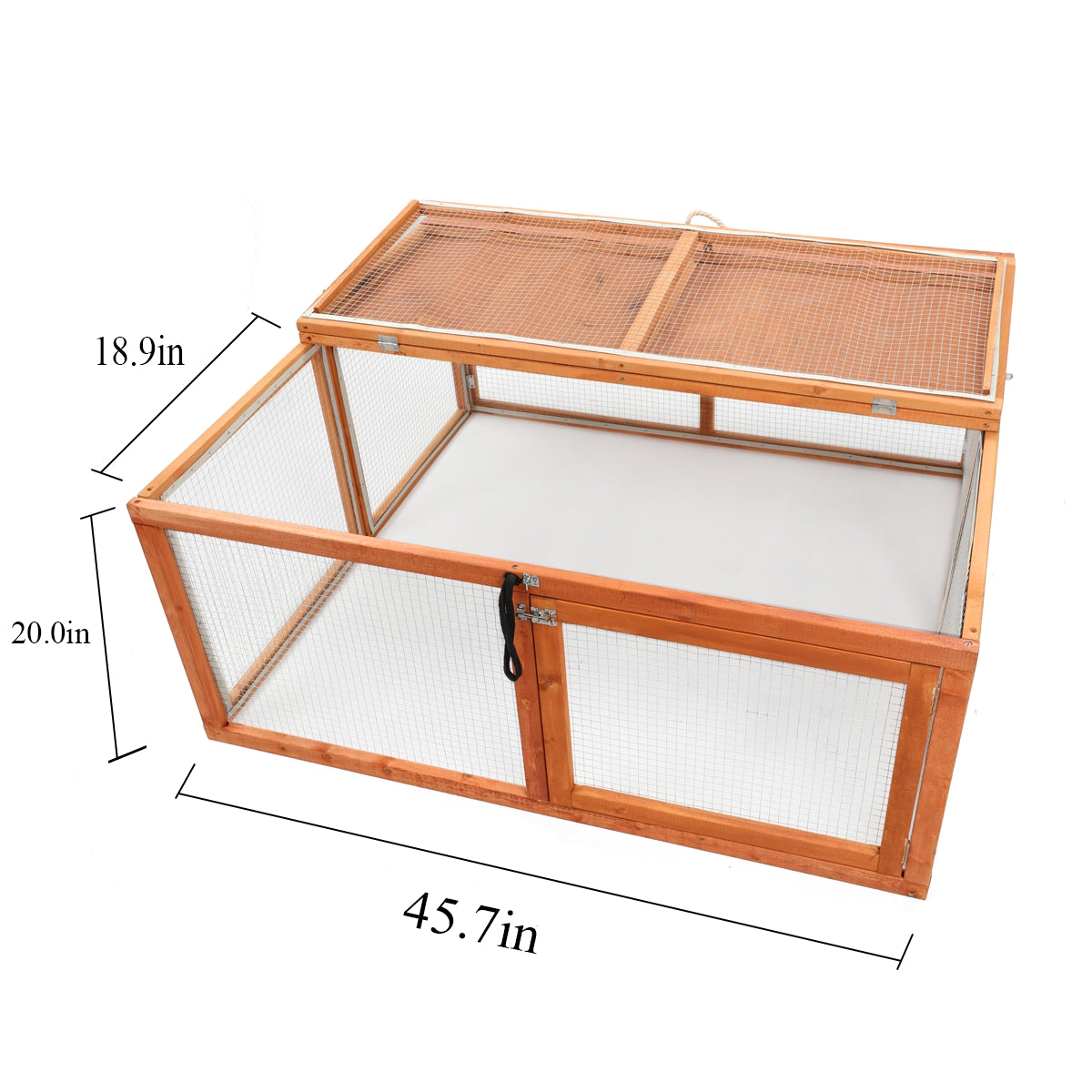 "45.7"" Foldable Chicken Coop Rabbit Bunny Hutch Hen House Poultry Cage Guinea Pig Pen"