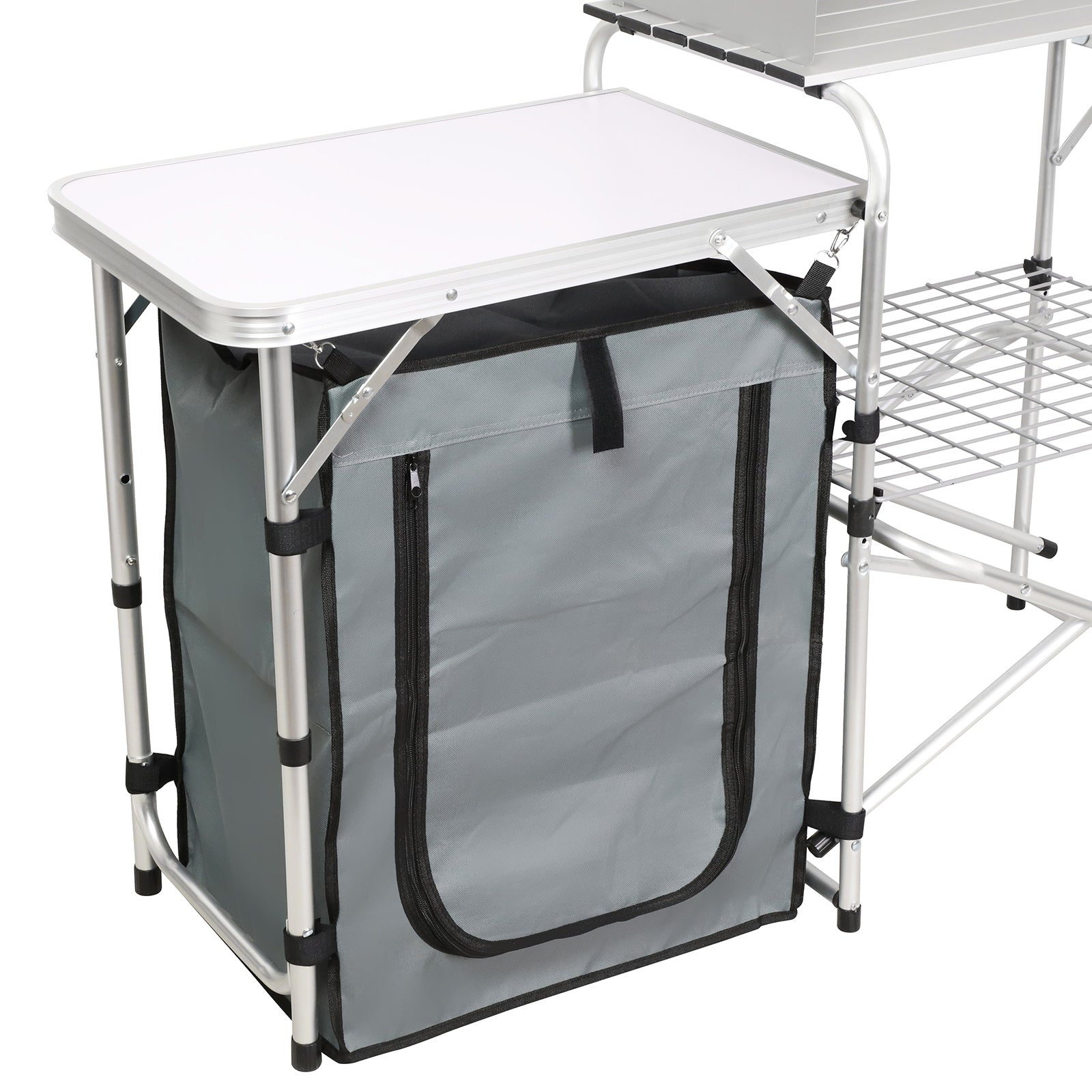 Camping Folding Serving Table Potable All-in- One 2-Tier Practical Kitchen Table w/Side Prep Panel- Aluminum Frame