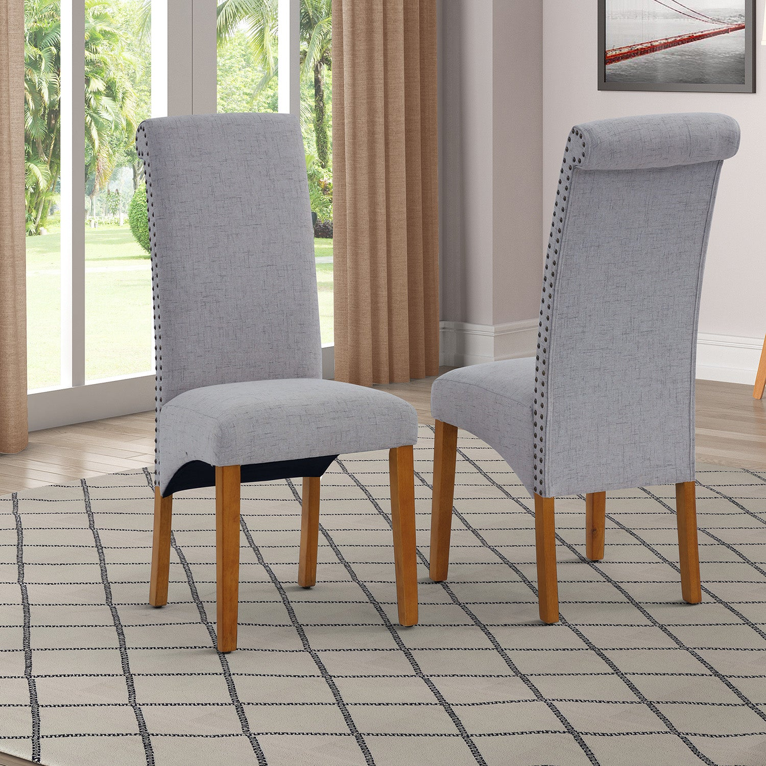 Dark Olive Green Dining Chair Set Fabric Padded Side Chair with Solid Wood Legs Nailed Trim Living Room BH486200