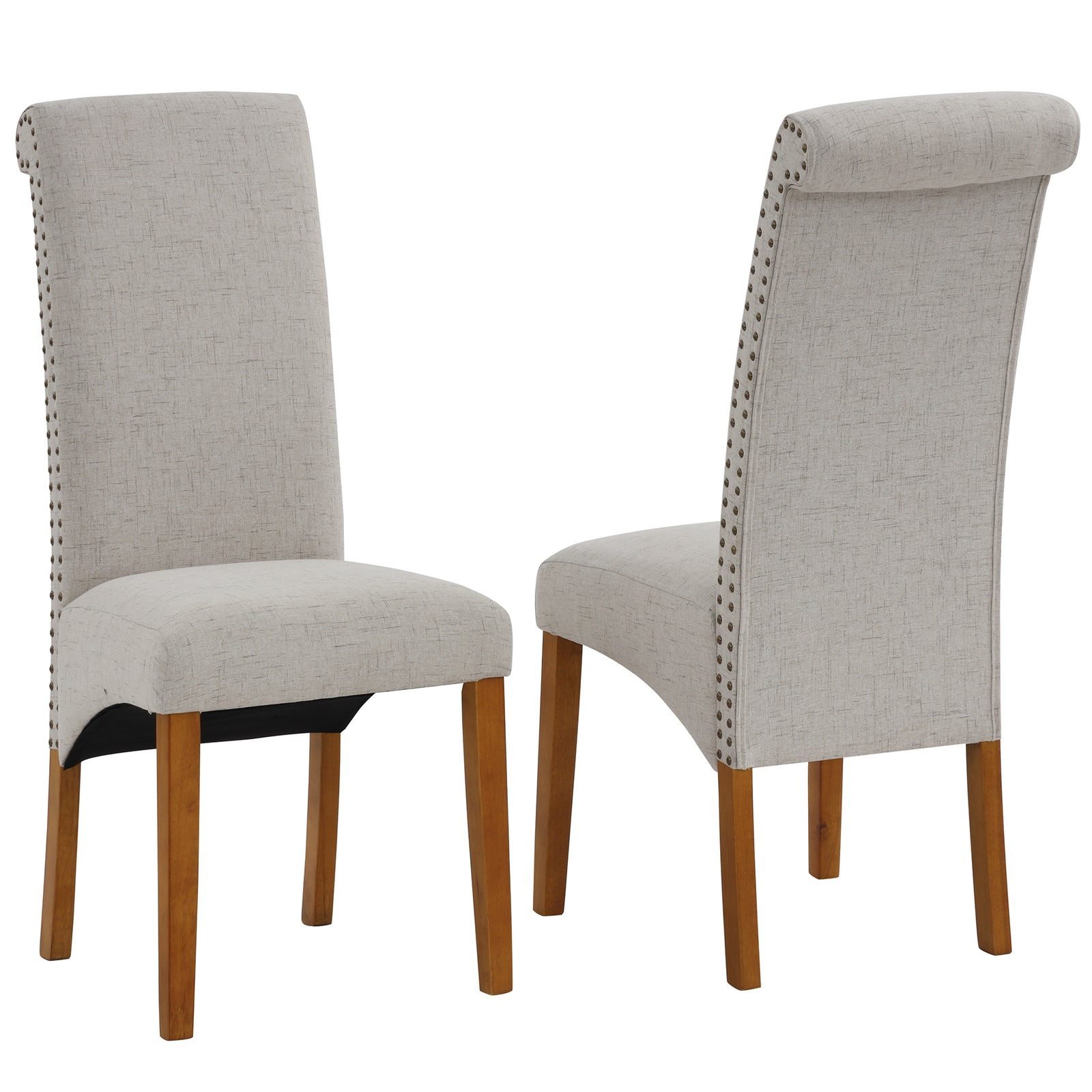 Dark Gray Dining Chair Set Fabric Padded Side Chair with Solid Wood Legs Nailed Trim Living Room BH486200