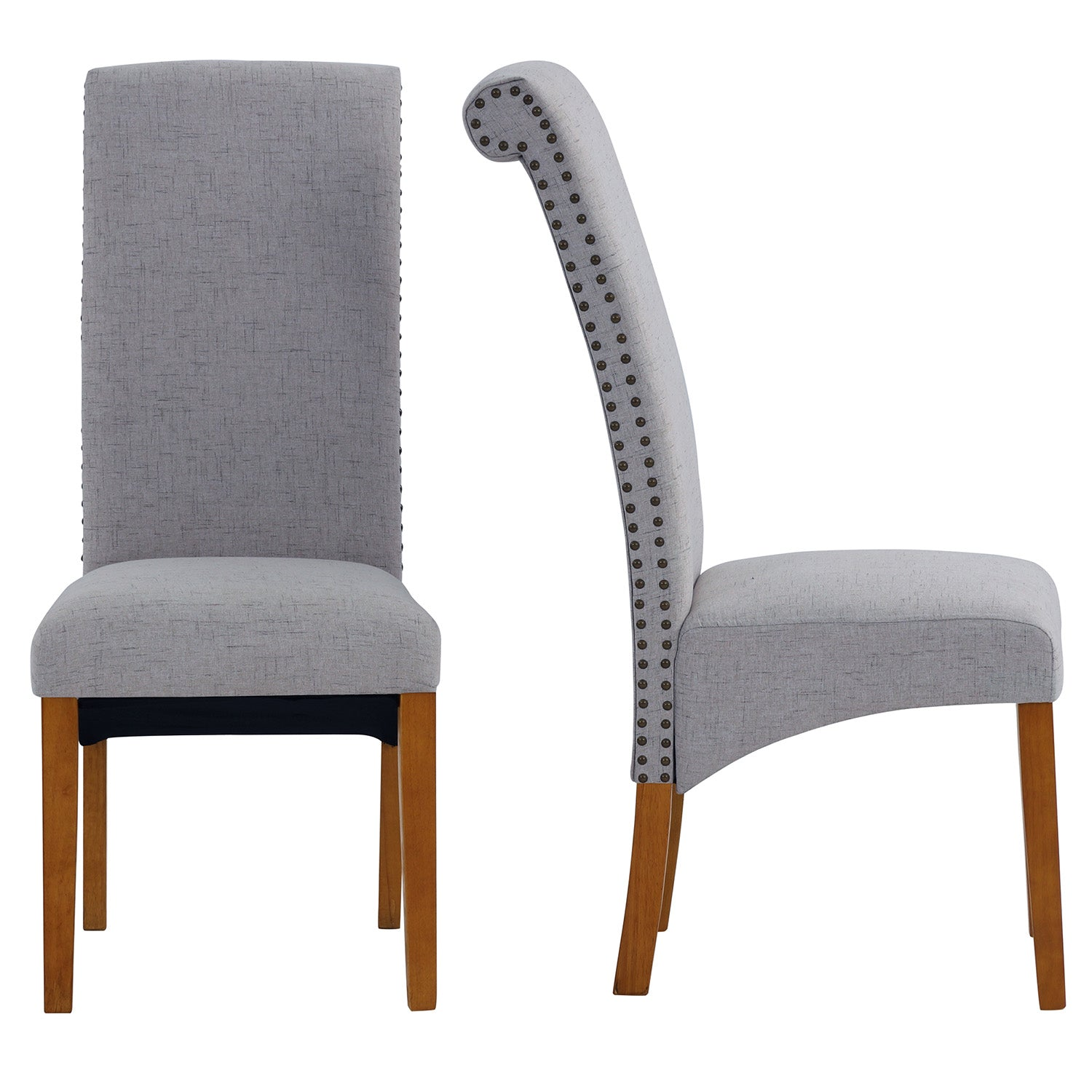 Slate Gray Dining Chair Set Fabric Padded Side Chair with Solid Wood Legs Nailed Trim Living Room BH486200