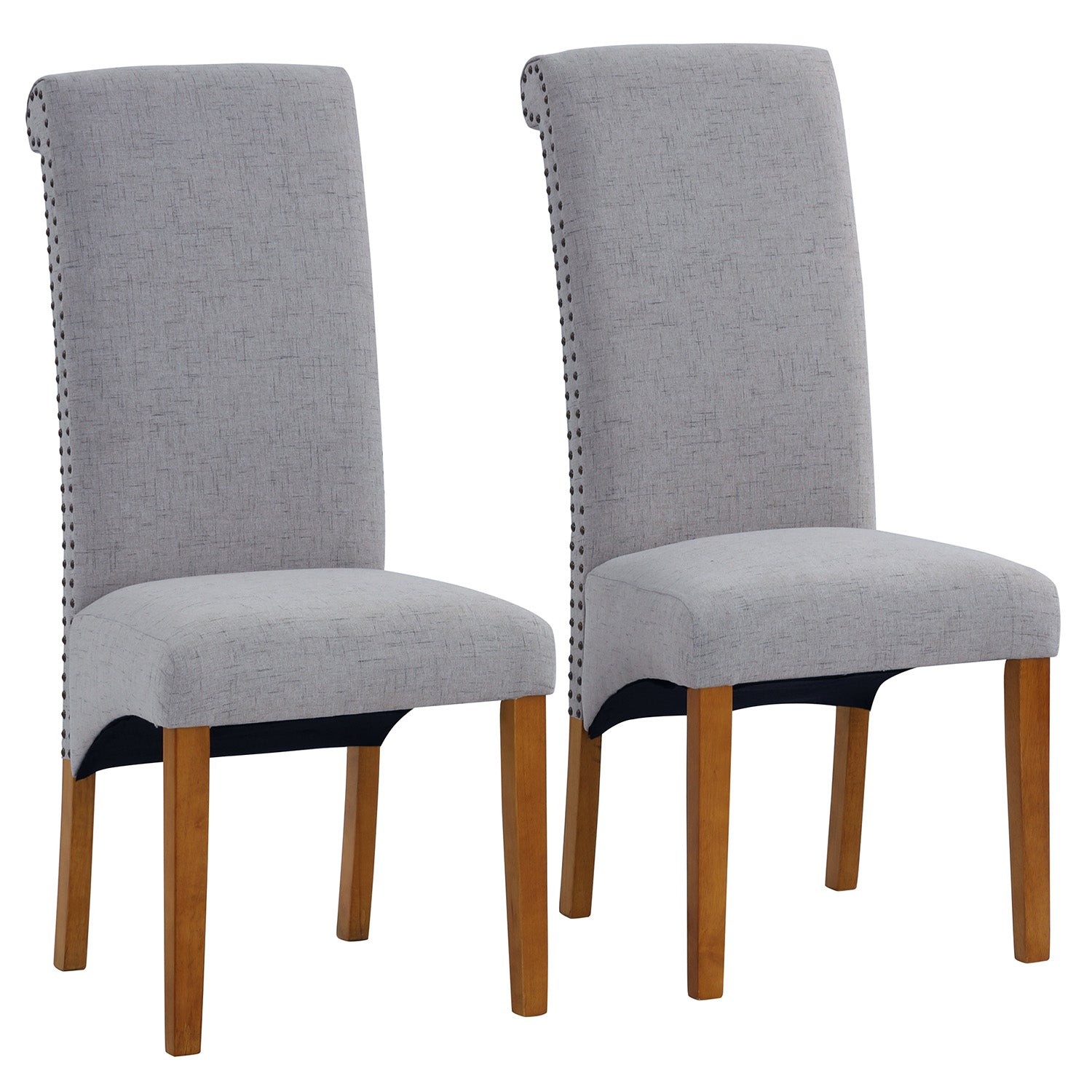 Light Slate Gray Dining Chair Set Fabric Padded Side Chair with Solid Wood Legs Nailed Trim Living Room BH486200
