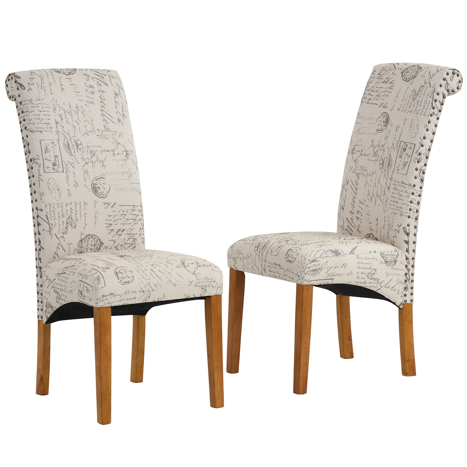 Gray Dining Chair Set Fabric Padded Side Chair with Solid Wood Legs Nailed Trim Living Room BH486200
