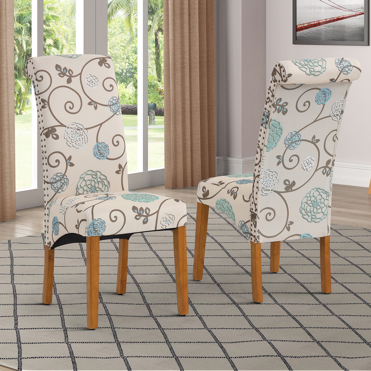 Sienna Dining Chair Set Fabric Padded Side Chair with Solid Wood Legs Nailed Trim Living Room BH486200