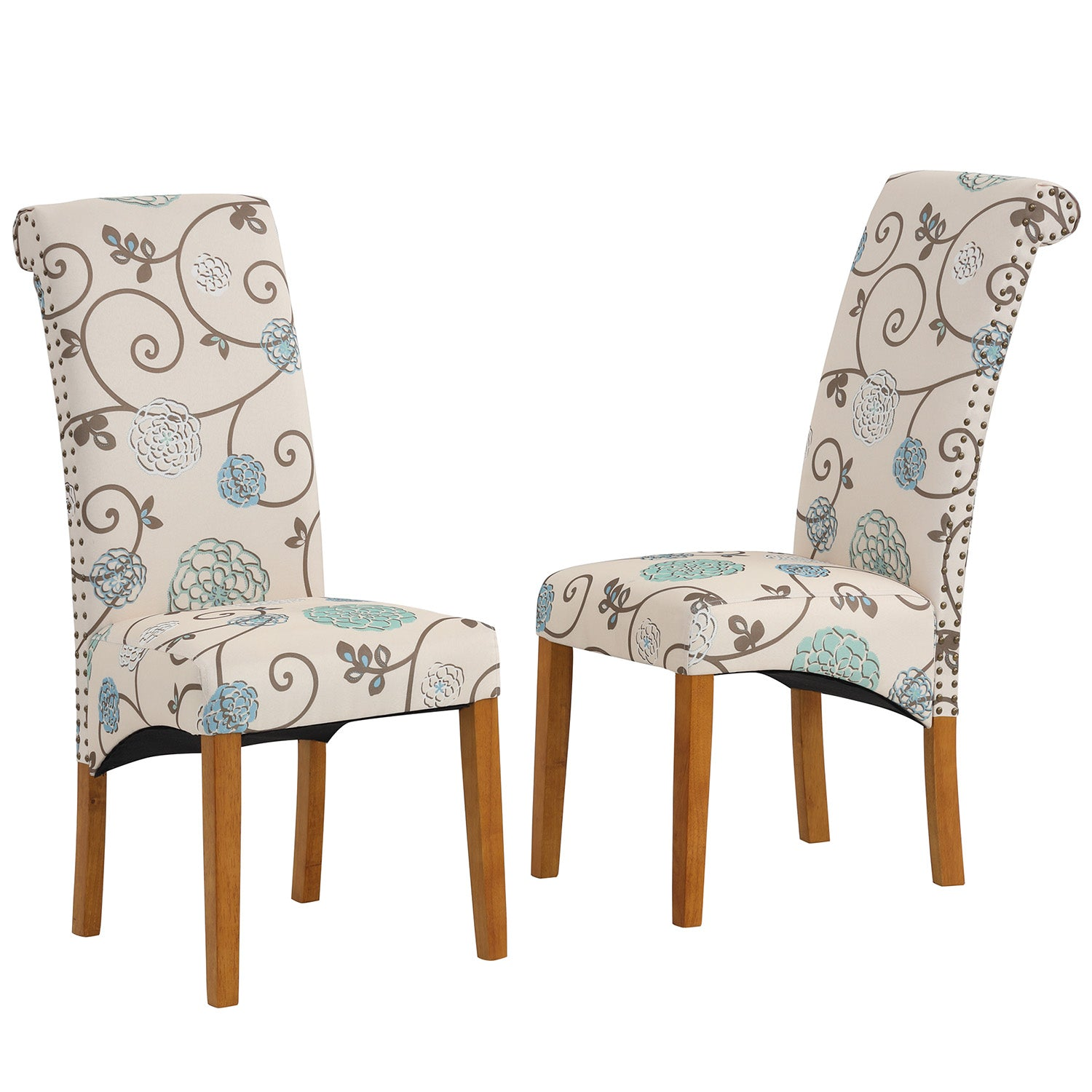 Saddle Brown Dining Chair Set Fabric Padded Side Chair with Solid Wood Legs Nailed Trim Living Room BH486200