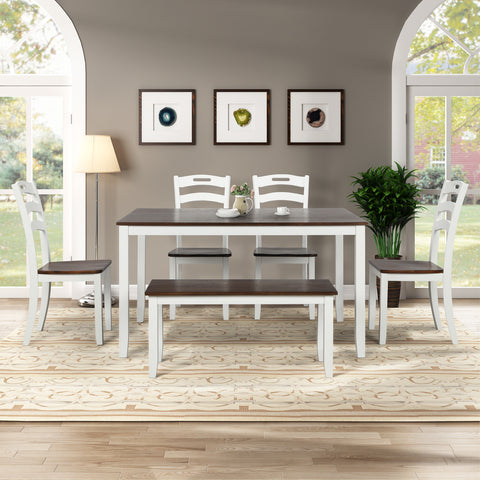 4 Counts - Wooden Dining Table Set with Metal Frame Wood Kitchen Table with One Bench and Two Stools BH195728