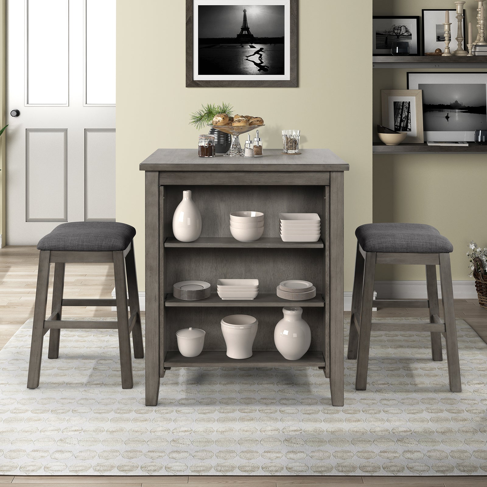 3 Counts - Square Dining Table with Padded Stools, Table Set with Storage Shelf Dark Gray
