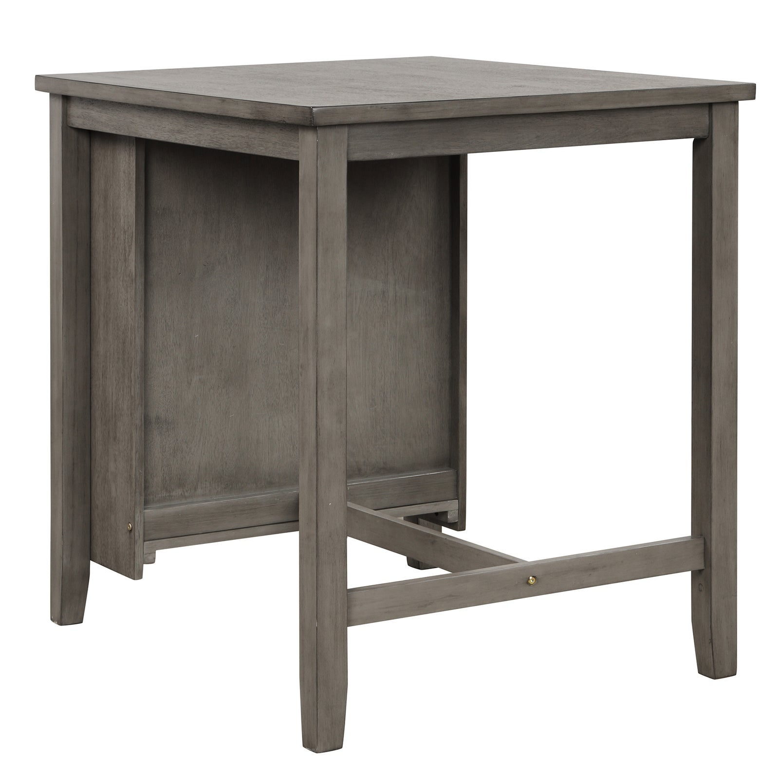3 Counts - Square Dining Table with Padded Stools, Table Set with Storage Shelf Dark Gray - Table