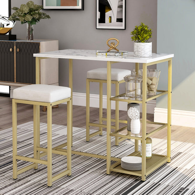 3 Counts - Modern Pub Set with Faux Marble Countertop and Bar Stools White/Gold