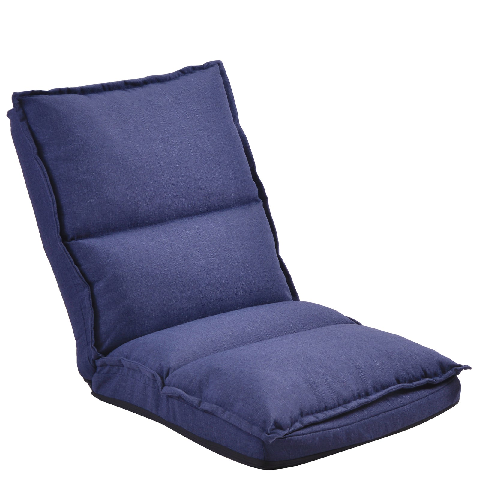 Dark Slate Blue Fabric Upholstered Folding Lazy Sofa Chair Adjustable Floor Sofa Chair BH192325