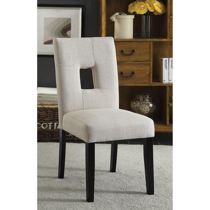 Upholstered Open Back Dining Side Chairs Beige And Black - 2 Count