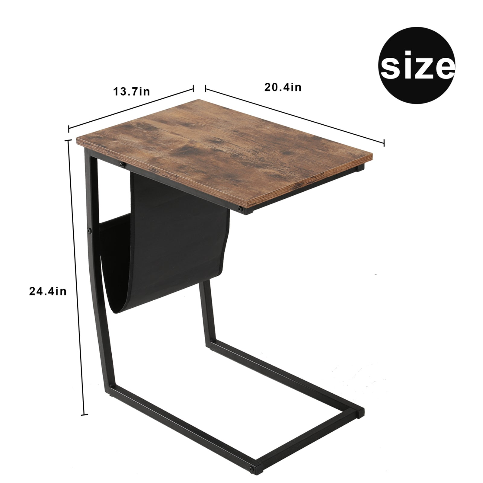 Dim Gray Industrial Side Table With Metal Frame Mobile Snack Table for Coffee Laptop Tablet BH50124965