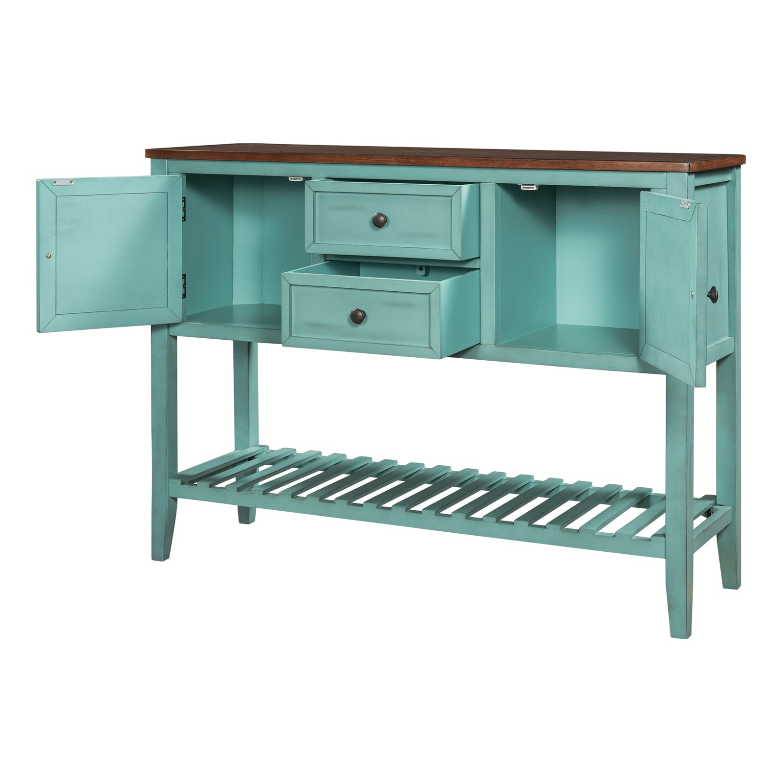 Cadet Blue Console Table Sideboard with Shutter Doors Two Storage Drawers and Bottom Shelf BH196438