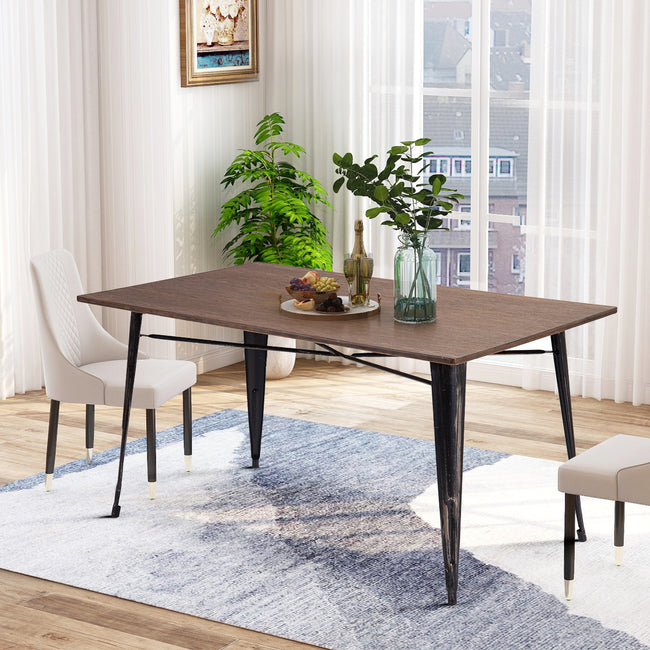 Antique Style Rectangular Dining Table with Metal Legs Distressed Black BH03632