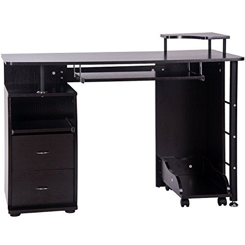 Black Home Office Computer Desk Table with Keyboard Tray and Drawers Espresso BH033630