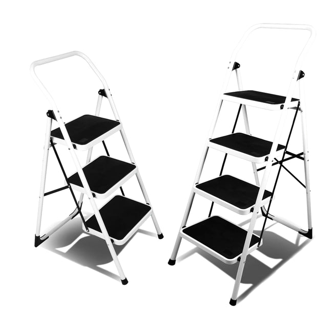 Black Folding Step Ladder Platform Lightweight