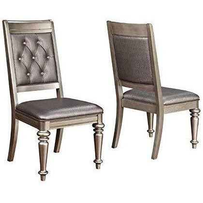Dim Gray Coaster 106472 | 2-Count Crystal Buttons Open Back Side Chairs With Cushioned Seating