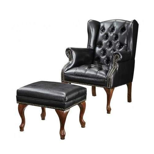 Black  Leather Accent Chair and Ottoman