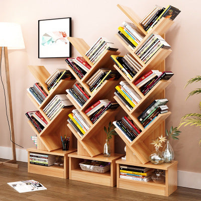 Tree Bookshelf Compact Book Display Storage Rack Bookcase