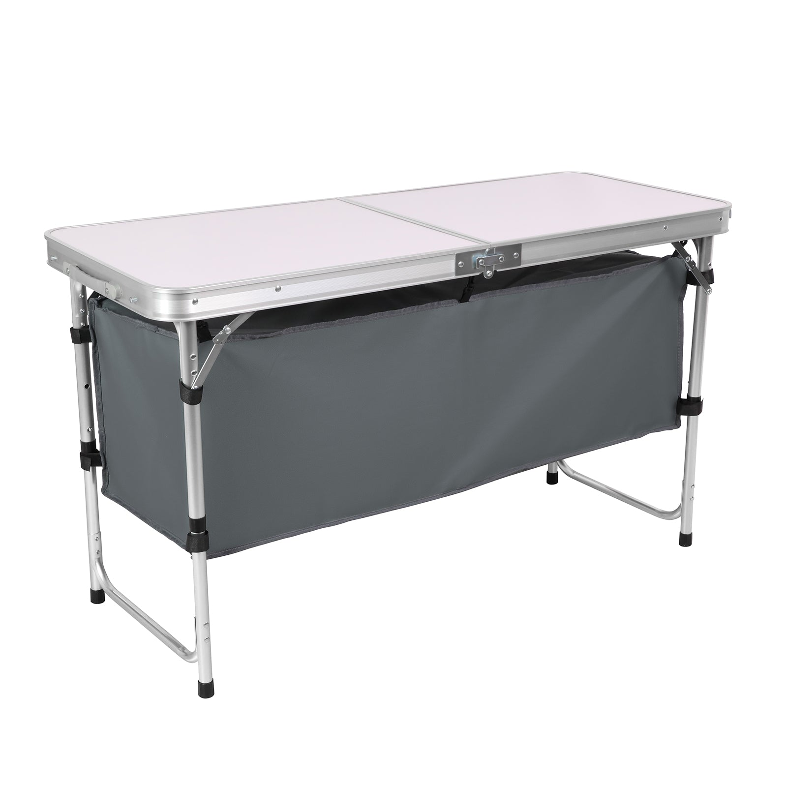 Dim Gray Folding Camping Picnic Table w/Extended Panel, Compact Aluminum Lightweight Picnic Table Multi-Function BBQ Food Preparation Outdoor Indoor Kitchen Utility Table