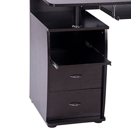Dark Slate Gray Home Office Computer Desk Table with Keyboard Tray and Drawers Espresso BH033630