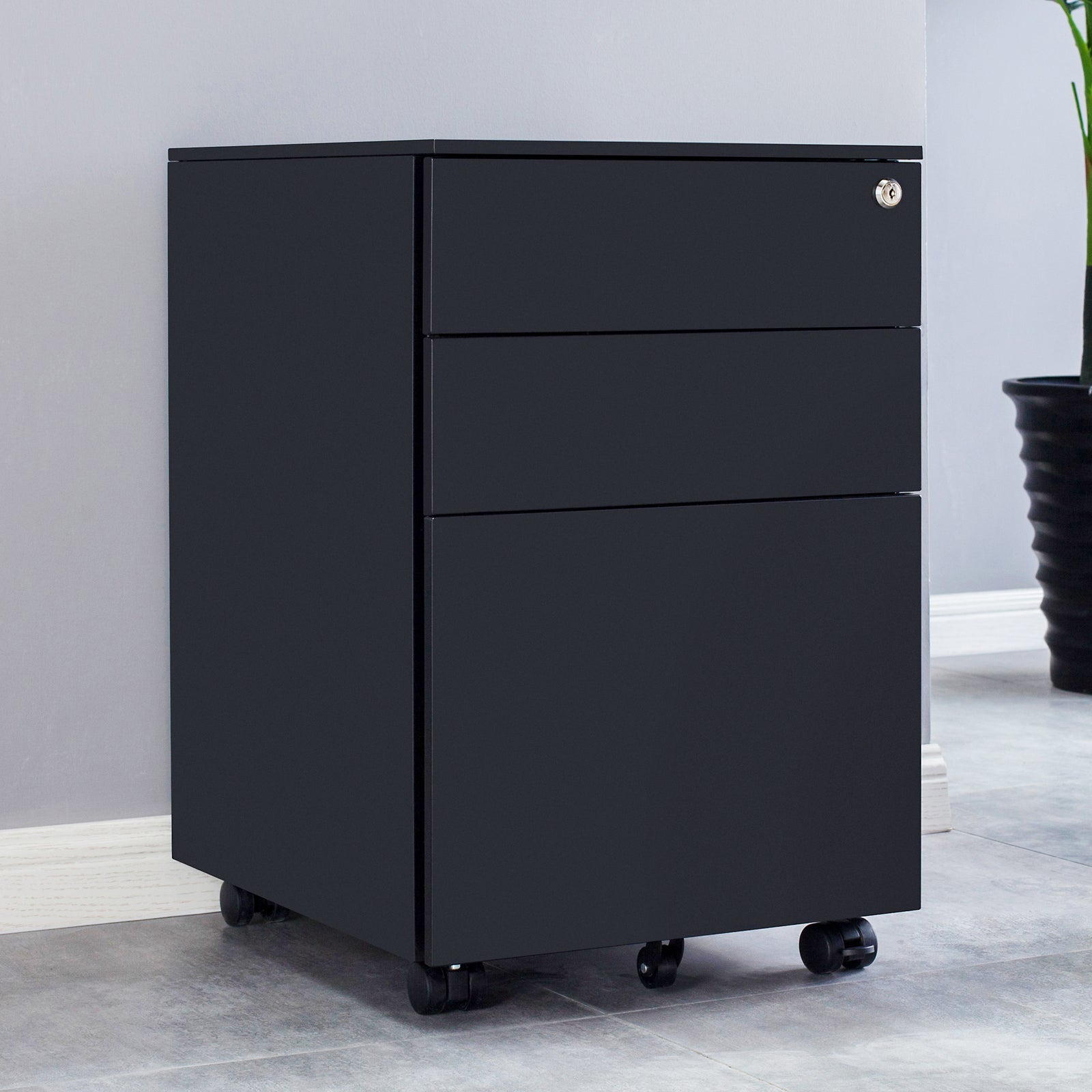 Movable 3 Drawers Metal File Cabinet Lockable Pedestal Files BH25202810 BH25202811