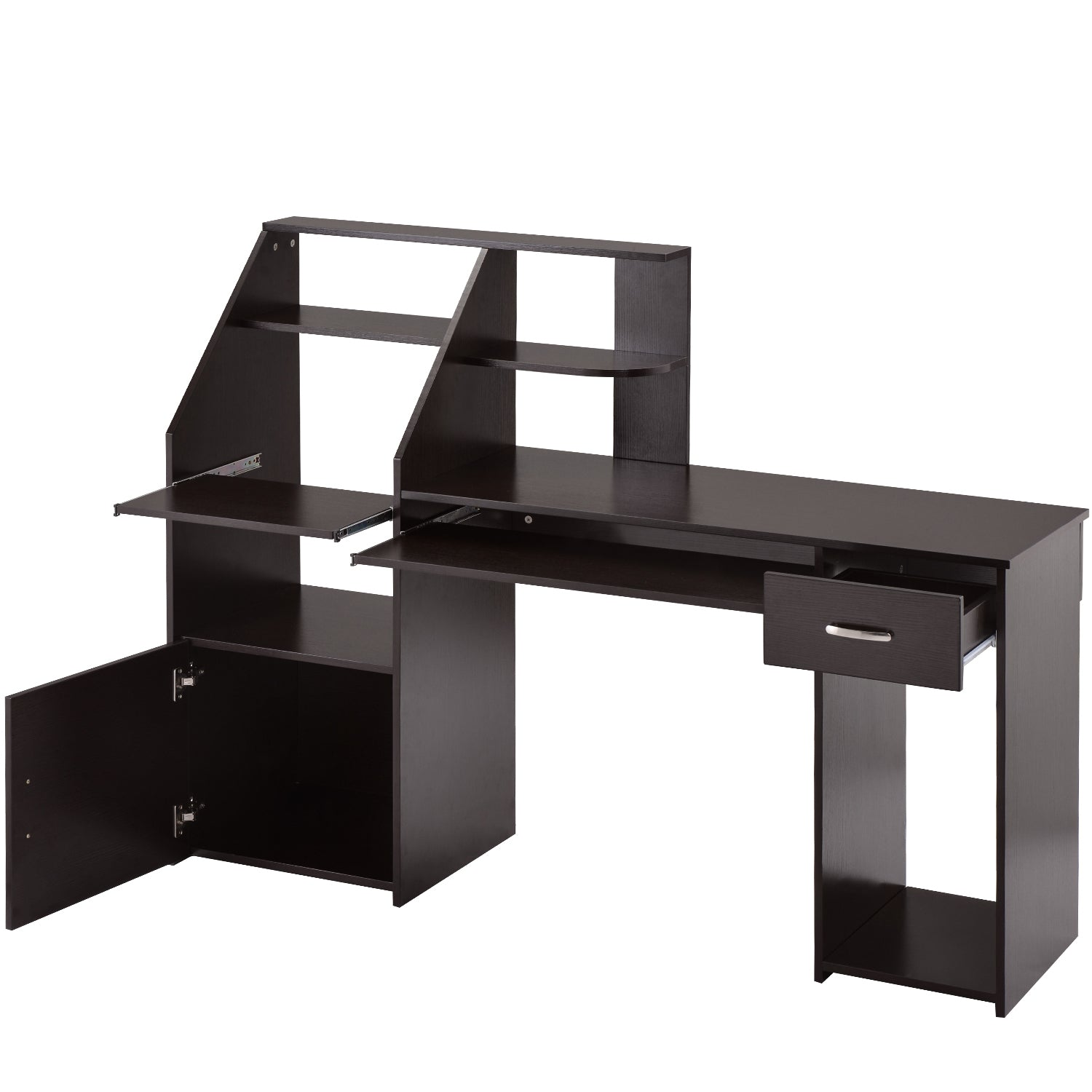 Dim Gray Multi-Functions Computer Desk with Cabinet Espresso BH186907