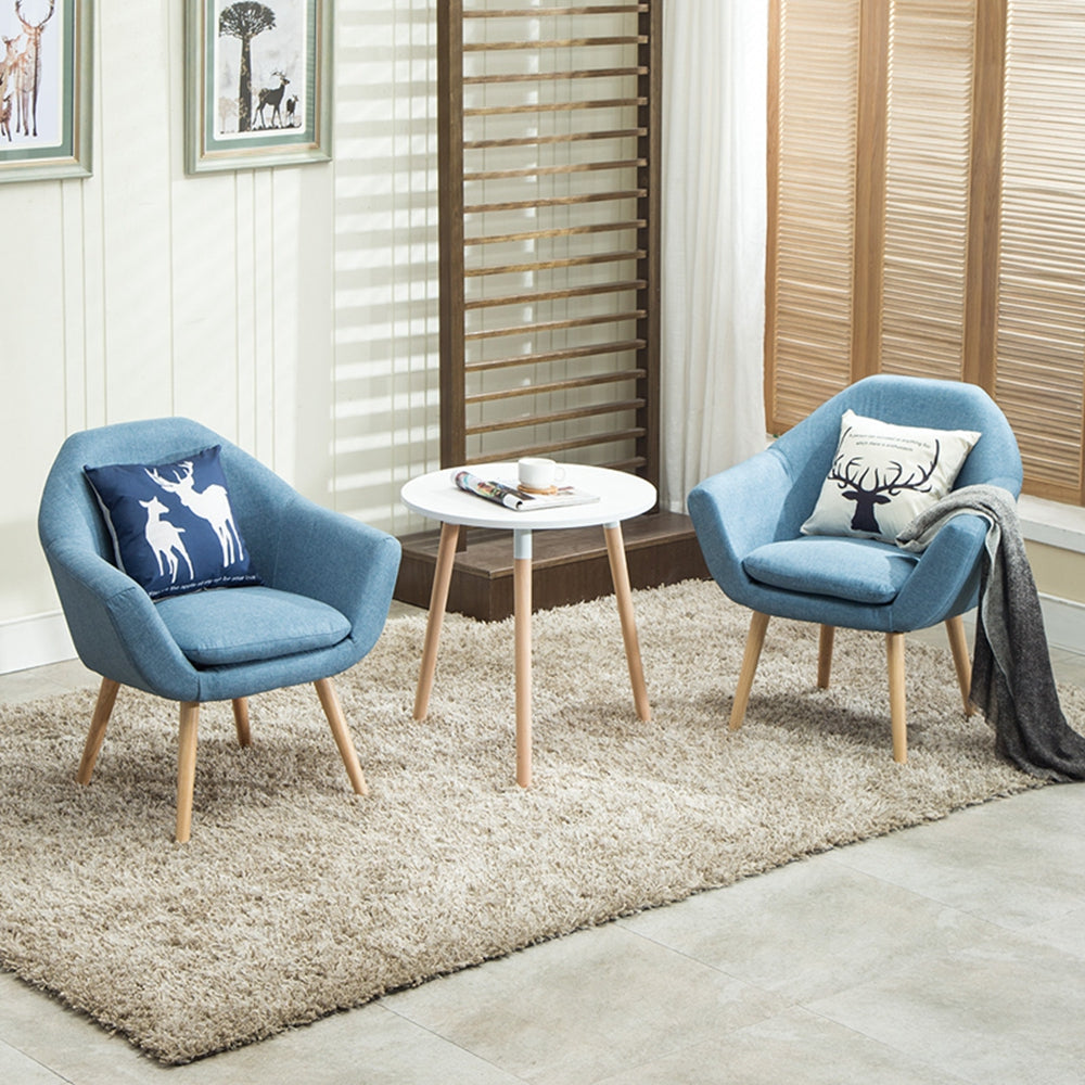 legant Upholstered Fabric Club Chair Accent Chair Set Of 2 Blue