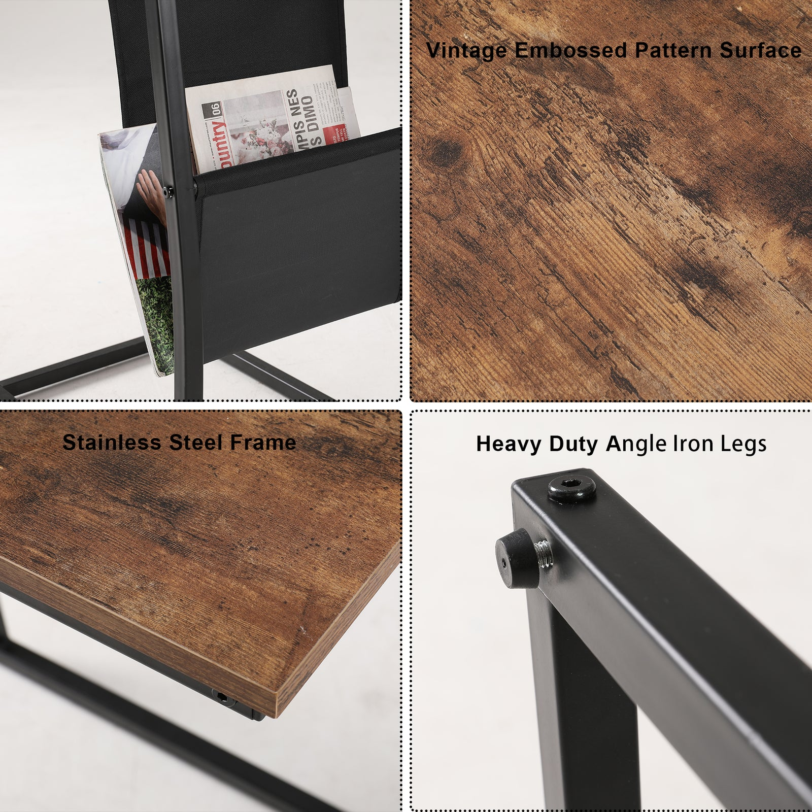 Sienna Industrial Side Table With Metal Frame Mobile Snack Table for Coffee Laptop Tablet BH50124965