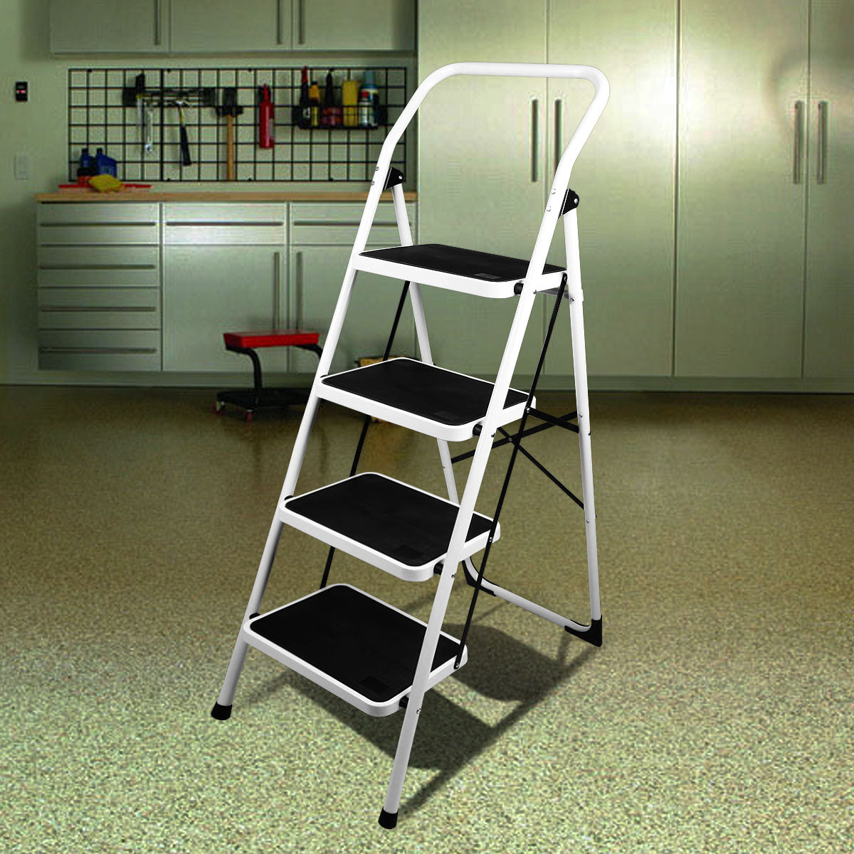 Dim Gray Folding Step Ladder Platform Lightweight