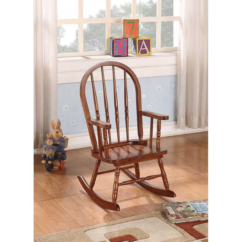 Wooden Rocking Chair Patio Chair Hollow Backrest in Tobacco