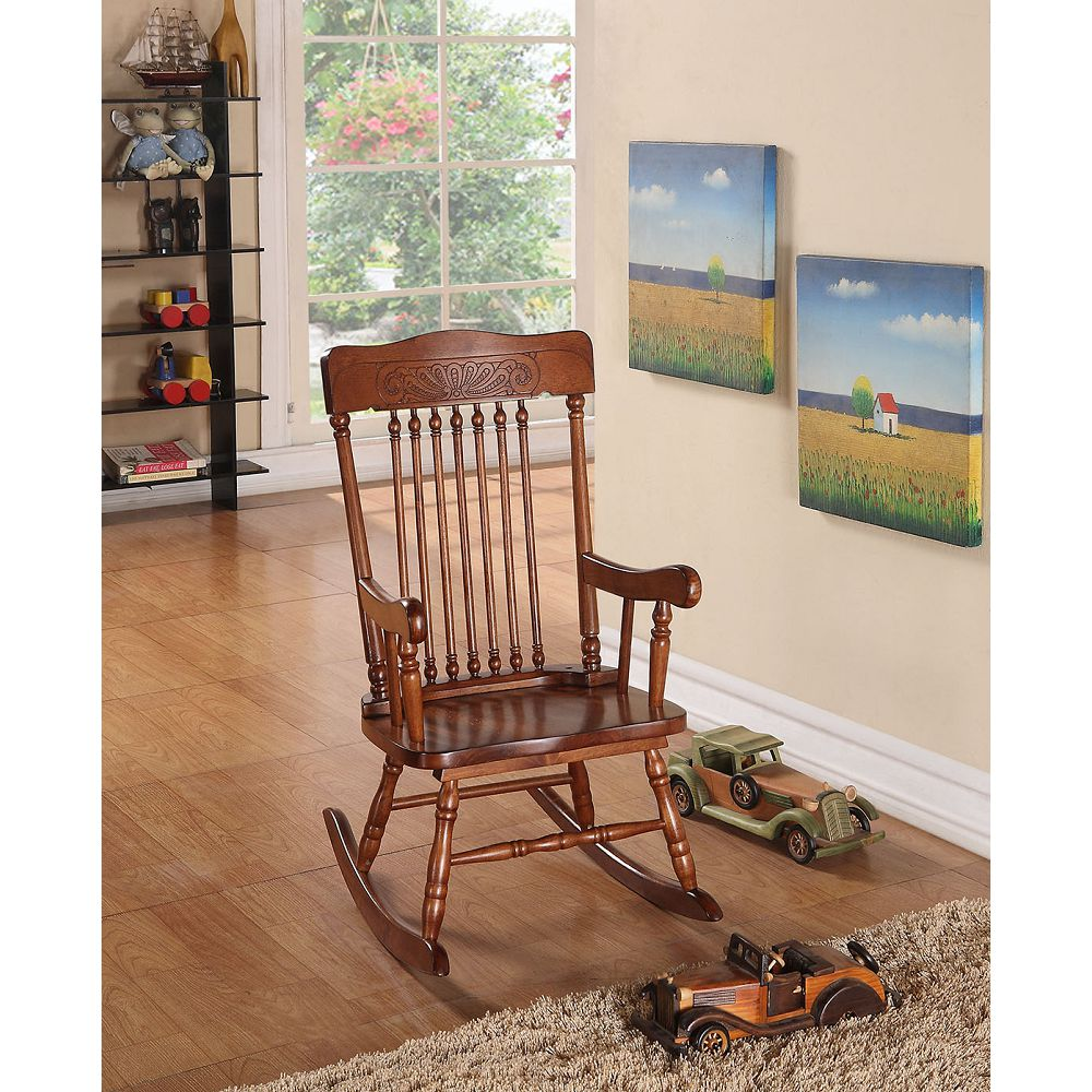 Gray Wooden Rocking Chair Patio Chair Tall Backrest in Tobacco BH59218