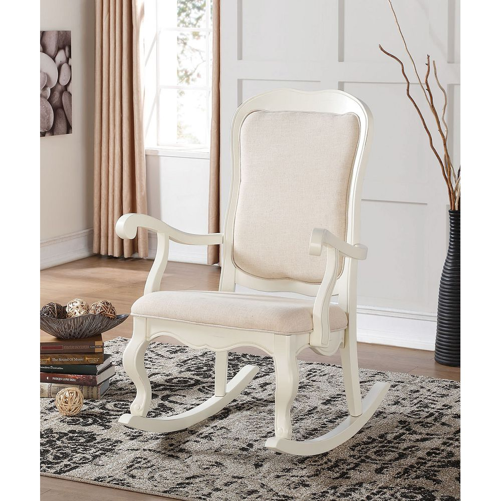 Wooden Rocking Chair Patio Chair Tall Backrest in Fabric & Antique White
